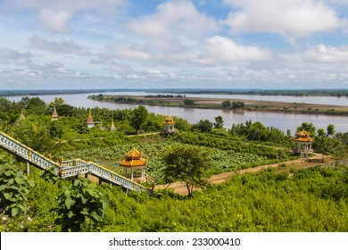 Stairs to the Mekong River from Wat Hanchey Buddhist monastery, near Kampong Cham