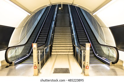 Stairs at a metro railway station.