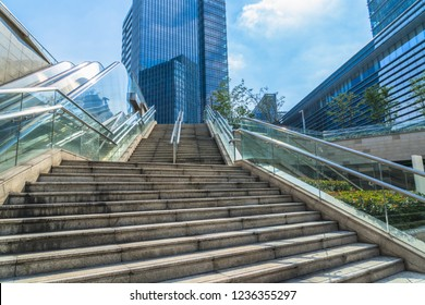 the Stairs with modern buildings in the cityscape