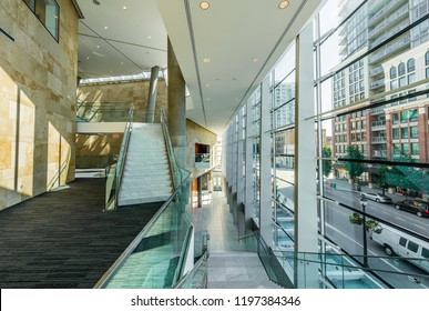 Stairs at the modern lobby, hallway of the luxury hotel, shopping mall, business center. Interior design.