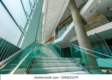 Stairs in the modern lobby, hallway, plaza, hotel, shopping mall, business center in Vancouver, Canada. Interior design.
