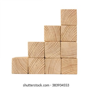 Stairs of natural color wooden blocks isolated on white side view
