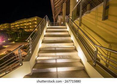 Stairs at night, dawn.
