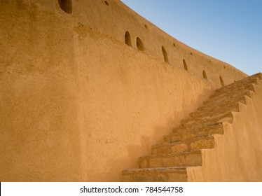 Stairs in Nizwa, Oman panorama fort Arabian Peninsula. Nizwa was the capital of Oman proper and is located about 140 km from Muscat.