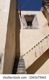 Stairs to nowhere, side facade at El Chico Church