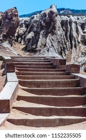 Stairs on the beach walk by the sandstone cliffs at Point Loma, San Diego, California.