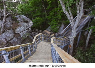 Stairs on Hiking Trail in the Blue Ridge Mountains, near Asheville, North Carolina