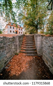 Stairs on the road to Bouzov castle in Czech Republic.