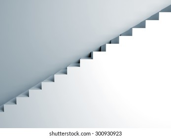 Stairs on the wall, abstract architecture, 3d interior background, digital graphic illustration