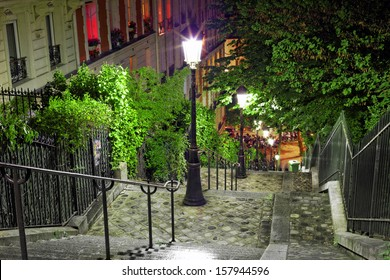 Stairs on the way to the basilica Sacre-Coeur. Paris. France