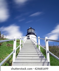 Stairs up to Owls Head Light at Rockland Harbor in Maine