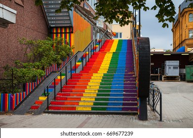 Stairs, painted in rainbow. Gay friendly 6 colors option. Falun, Sweden.