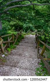 A stairs path in the Gran Sasso Mountains chain, Prati di Tivo, Teramo Province, Abruzzo Region, Italy