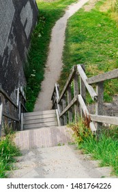 Stairs and path to lake called Veerse Meer. Veere, The Netherlands