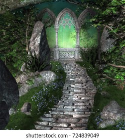Stairs and portal in a mysterious fantasy forest - 3D illustration