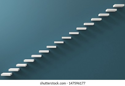 Stairs Rendered on the Blue Wall