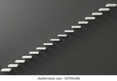 Stairs Rendered on the Gray Wall
