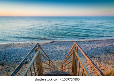 Stairs to the sea on a wonderful evening