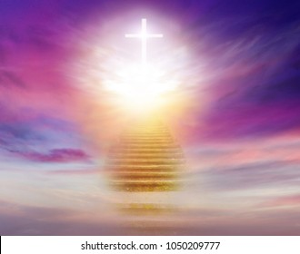 Stairs in sky . Dramatic nature background .  Sunset or sunrise with clouds, light rays and other atmospheric effect . Light from sky . Religion background .