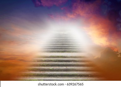 Stairs in sky . Way to heaven . Religious background