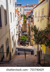 Stairs and streets in Lisbon city of Portugal on a sunny day of summer