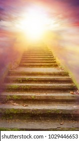 Stairs with sun beams .  Way to heaven . Beautiful sky  .