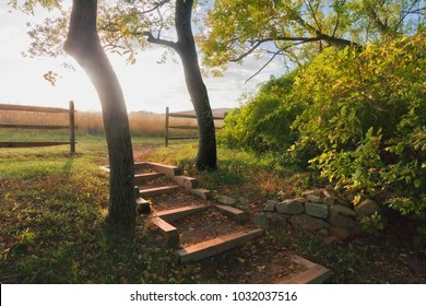 Stairs to a Sunny Field with Ranch Fence