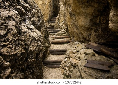 Stairs of a tight mountain path