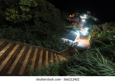 Stairs to the top of mountain of Adam's Peak - sacred mountain in the country of Sri Lanka