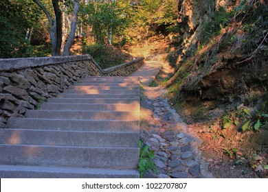 stairs to the top at sunset