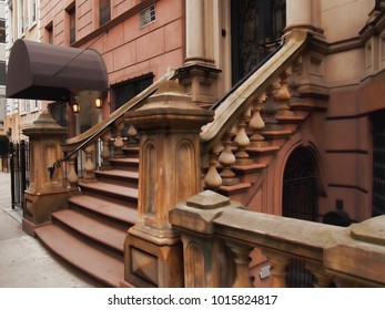 Stairs to an upscale building in midtown Manhattan