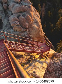 The stairs you climb to get to Devils Head Fire Lookout.
