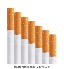 stairway of cigarettes isolated on a white background