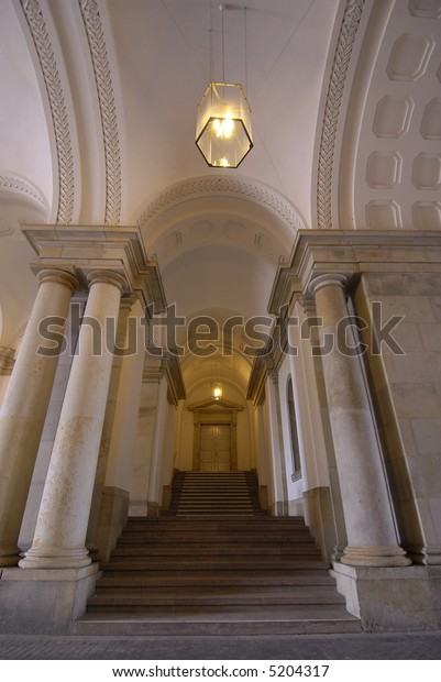 Stairway and columns in Copenhagen, Denmark