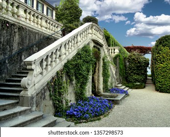 Stairway and courtyard at the Villa Carlotta on Lake Como, Italy