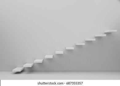 Stairway to the freedom and future 3d render white wall background