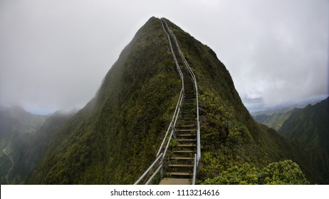 Stairway to heaven up the cloudy mountain Oahu island Hawaii