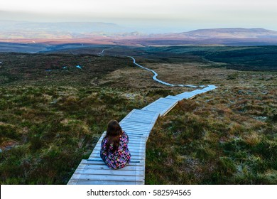 Stairway to heaven Fermanagh, girl looking at amazing view.
