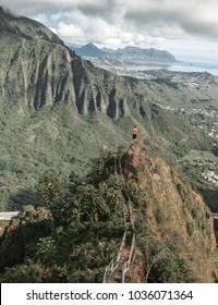 Stairway to heaven - haiku stairs on Oahu Hawaii, amazing mountain