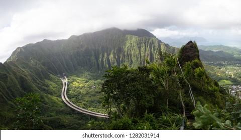Stairway to Heaven Panorama VIew, Oahu, Hawaii