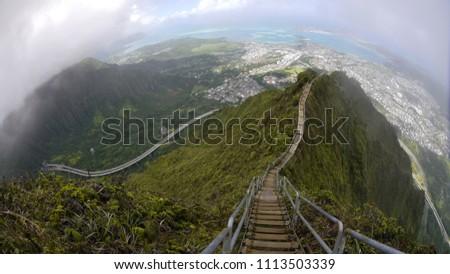Stairway Heaven Panoramic Photo H 3 Highway Stock Photo Edit Now