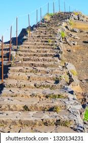 Stairway to heaven. Stairs on the route Pico Areeiro - Pico Ruivo, Madeira Island, Portugal, Europe.