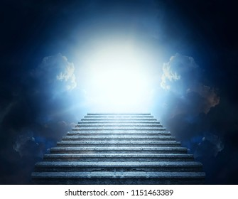 Stairway to Heaven. Stone steps into clouds and light.