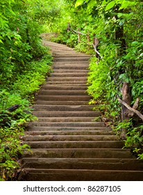 Stairway to jungle, Erawan national park, Kanchanburi,Thaialnd