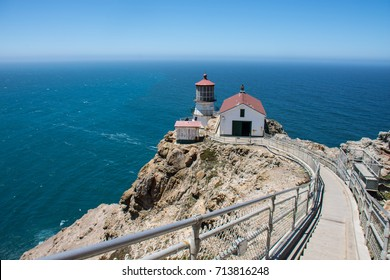 Stairway leading down to the historic Point Reyes Lighthouse in Marin County, California