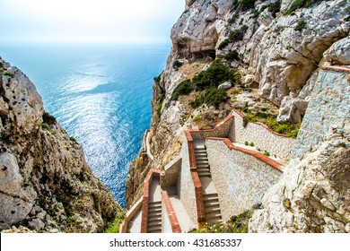 The stairway leading to the Neptune's Grotto, in Capo Caccia cliffs, near Alghero, in Sardinia, Italy