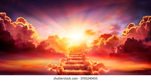 Stairway Leading Up To Sky At Sunrise - Resurrection And Entrance Of Heaven - Shutterstock ID 1935240455