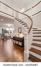 Stairway and Living Room in New Luxury Home
