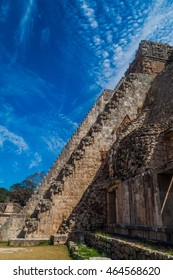 Stairway of the Pyramid of the Magician (Piramide del adivino) in ancient Mayan city Uxmal, Mexico