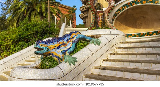 Stairway with sculpture Salamanders Mosaic lizard ceramic tile, decoration in Park Guell, Barcelona, Spain.